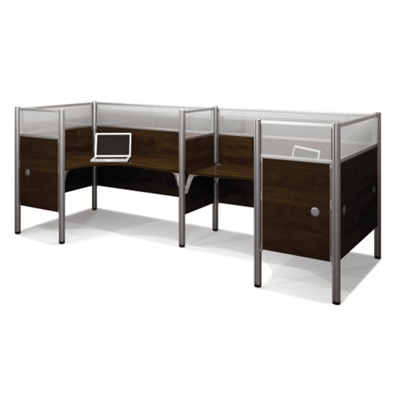 """Two Person Back-to-Back L-Desk Station with Seven 55.5""""H Acrylic Dividers"""
