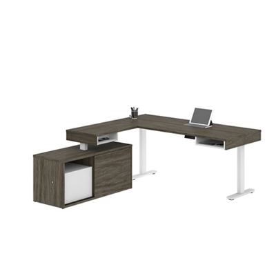 Height-Adjustable L-Desk with Credenza