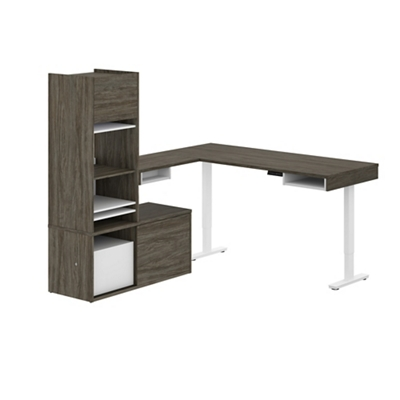 Height-Adjustable L-Desk with Credenza and Hutch