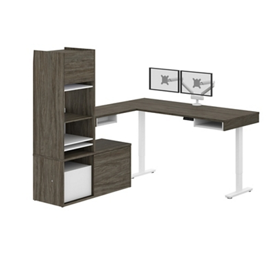 Height-Adjustable L-Desk with Credenza, Hutch, and Monitor Arm