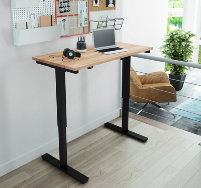 "Adjustable Height Desk with Solid Wood Top - 48""W x 24""D"