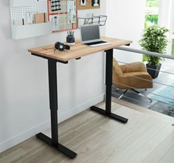 """Adjustable Height Desk with Solid Wood Top - 48""""W x 24""""D"""