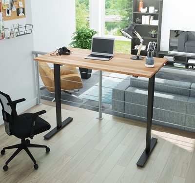 "Adjustable Height Desk with Solid Wood Top- 60""W x 29.5""D"