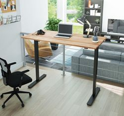 """Adjustable Height Desk with Solid Wood Top- 60""""W x 29.5""""D"""