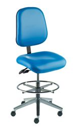 Armless Task Stool with Vacuum-Formed Seat and Back