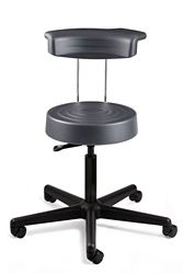 "Armless Height Adjustable Stool with Backrest- 18""-22.5""H"
