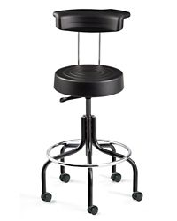 "Armless Height Adjustable Stool with Backrest and Footrest- 20.5""-25.5""H"