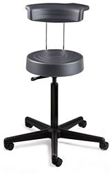 "Armless Height Adjustable Stool with Backrest -21""-28.5""H"