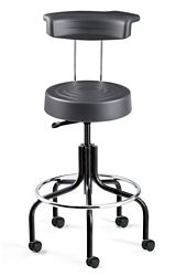 "Armless Height Adjustable Stool with Backrest and Footrest -25.5""-30.25""H"