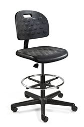"Armless Polyurethane Stool with Footrest - 22""-32""H"