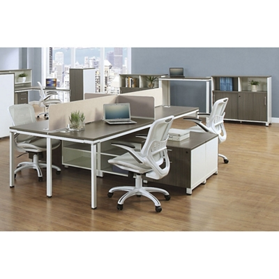 """Element 59""""W Four Person Workstation with Wall Storage"""