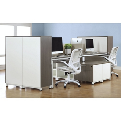 "Element 59""W Four Person Workstation with Wardrobe Storage"