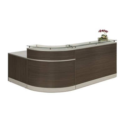 "Esquire Glass Top Reception Desk - 79""W x 63""D"
