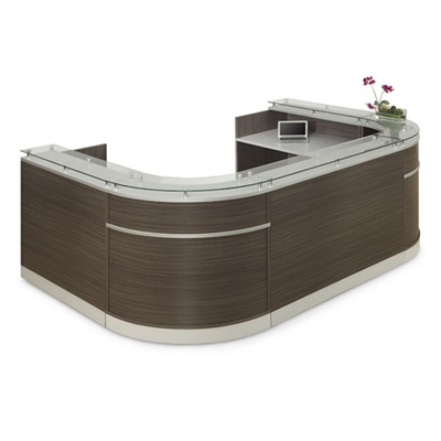 "Esquire Glass Top U-Shaped Reception Desk - 126""W x 94""D"