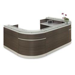 "Esquire Glass Top U-Shaped Reception Desk - 126""W x 94""D"