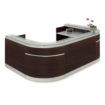"Esquire Glass Top U-Shaped Reception Desk - 126""W x 79""D"