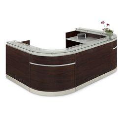 "Esquire Glass Top U-Shaped Reception Desk - 126""W x 79""D"