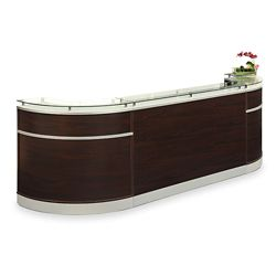 "Esquire Glass Top Arc Shaped Reception Desk - 126""W x 32""D"