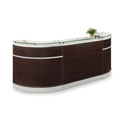 "Esquire Glass Top Compact Arc Shaped Reception Desk - 110""W x 32""D"