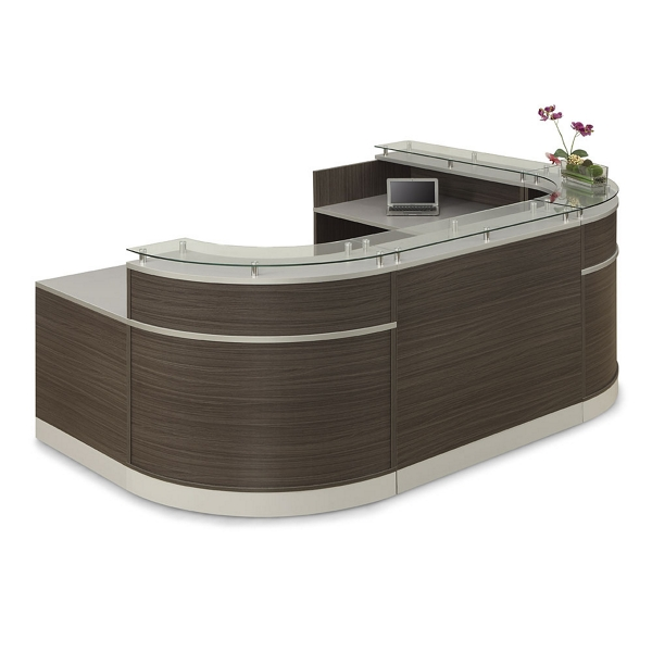 Esquire Glass Top U Shaped Reception Desk With Ada Return 110w X