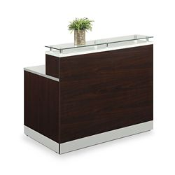 "Esquire Glass Top Reception Desk - 63""W x 32""D"