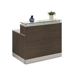 "Esquire Glass Top Reception Desk - 48""W x 32""D"