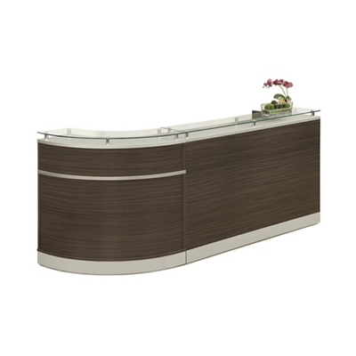 "Esquire Glass Top Single Curve Reception Desk - 96""W x 31""D"