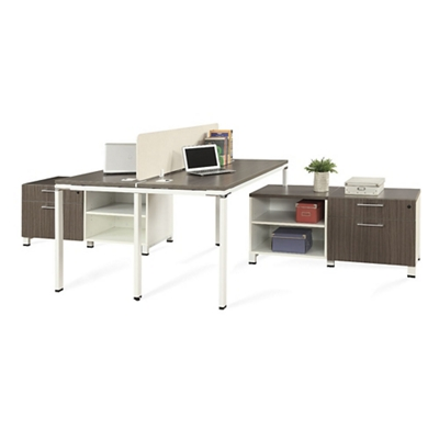 "Element 59""W Two Person Workstation with Storage"