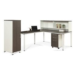 "Element 72""W L-Desk with Hutch, Pedestal and Wardrobe Storage"