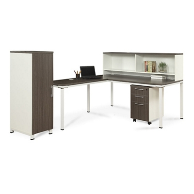 Element 72W L-Desk with Hutch Pedestal and Wardrobe Storage - 14848 and more Lifetime Guarantee