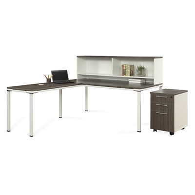 "Element 72""W L-Desk with Hutch and Mobile Pedestal"