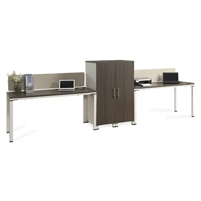 """Element Two Benched 59""""W Desks with Desktop Dividers and Wardrobes"""