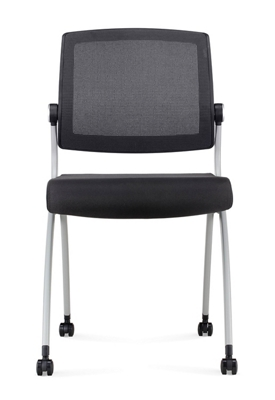 Nex Armless Mesh Back Polyurethane Nesting Chair with Dual-Purpose Casters