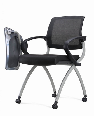Nex Mesh Back Polyurethane Nesting Chair With Tablet Arm And Casters, 51660