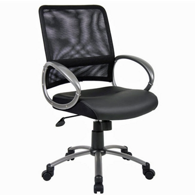 Bonded Leather Seat and Mesh Back Computer Chair