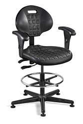 """Polyurethane Stool with Arms and Footrest - 21""""-31""""H"""