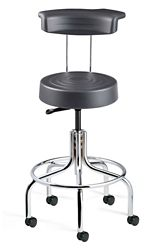 "Armless Height Adjustable Stool with Backrest and Footrest -25.25""-30.25""H"