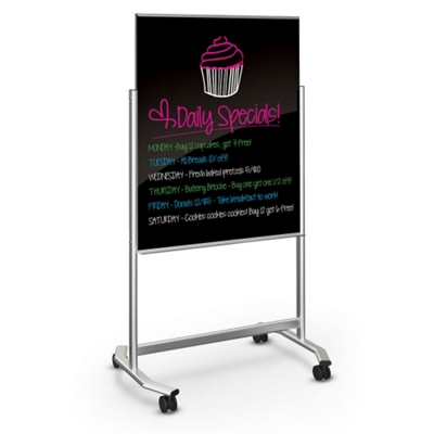 """39""""Wx75""""H Dual Sided Black Magnetic Markerglass Easel"""