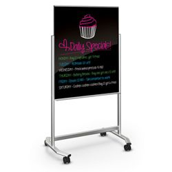 "39""Wx75""H Dual Sided Black Magnetic Markerglass Easel"