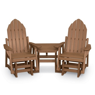 Two Adirondack Glider Chairs And Table   51406 And More Lifetime Guarantee