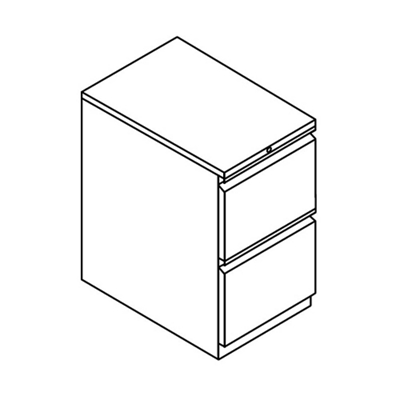 "Two Drawer Stationary Pedestal - 15""W"