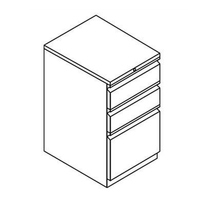 "Three Drawer Stationary Pedestal - 15""W"