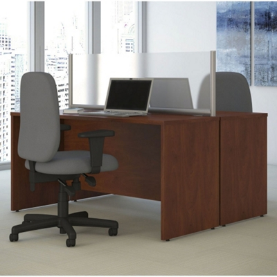 """Two-Person Desk with Privacy Screen - 66""""W"""