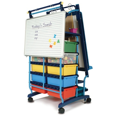 "Two Sided Teaching Easel with 19 Tubs - 30""W x 64.5""H"