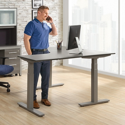 "At Work Adjustable Height L-Desk - 60""W x 60""D"