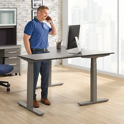 "At Work Adjustable Height Right L-Desk - 60""W x 60""D"