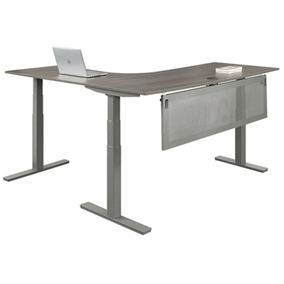 """At Work Adjustable Height Right L-Desk with Modesty Panel - 60""""W"""