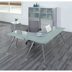 Brilliant Executive Glass L Desk Suite