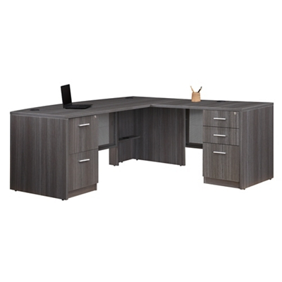 "At Work Bow Front L-Desk - 71""W x 77""D"