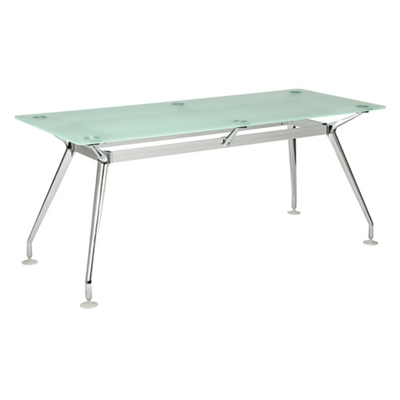 "Brilliant Glass Top Desk - 71""Wx30""D"